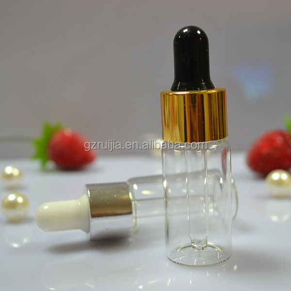 Small bottles for cosmetic essence packaging 10ml clear glass bottle