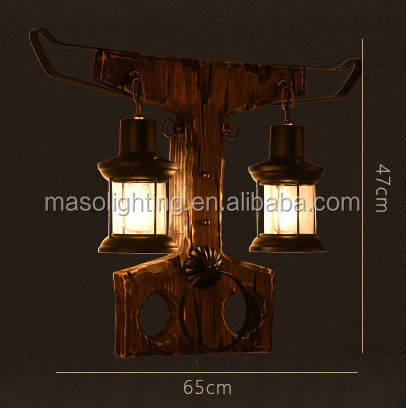 Decorative vintage antique hotel indoor fancy wall lamps wooden lamp base wholesale Zhongshan