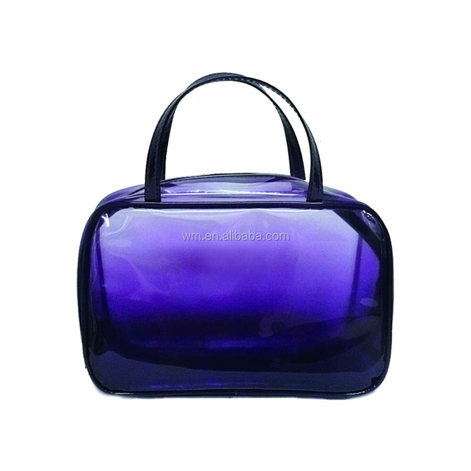 Good quality clear purple PVC plastic handbag with piping