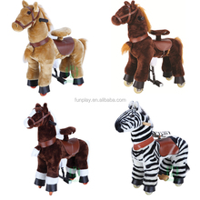 Factory wholesale adult riding horse toy mechanical plush animal ride on horse toy with wheels