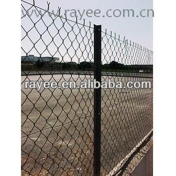 pvc coated green highway chain link fence / plastic chain link fence