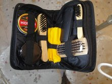 pu leather shoe care set/high quality shoe shine kit