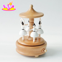 Customize funny train toys wooden vintage music box for kids W07B039