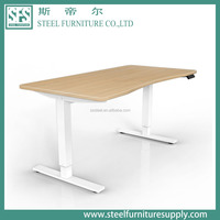 Electric/Manuel Height Adjustable Table ,sit standing desk wooden top and metal frame