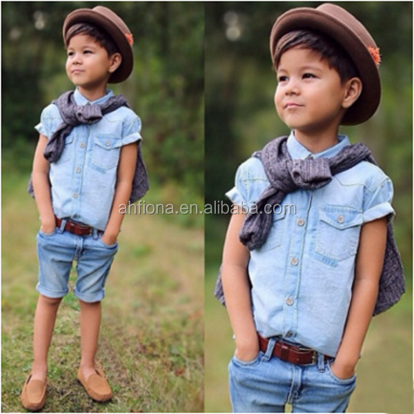 F10165D Boys 2pcs denim clothing sets wholesale western boutique children clothes
