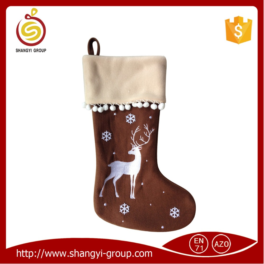 XM10-44C Best selling christmas socks plush reindeer stocking
