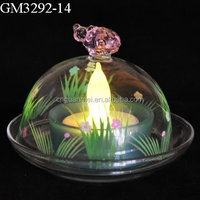 Hand painted glass candle holder dome