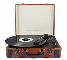 Wholesale Wooden Outdoor Portable Vinyl Record LP Player Suitcase Turntable