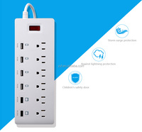 Multiple USA style 6 outlet power strip surge protector with 6 usb charger port for America market