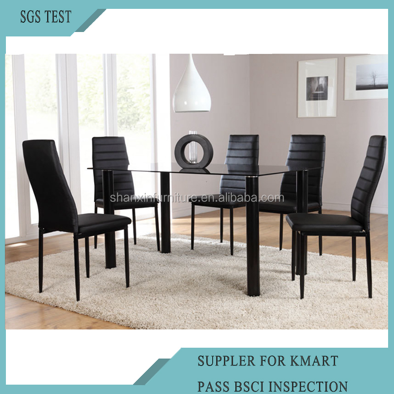 Modern Furniture Glass Kitchen Dining Dinette Top Dining Set 6 Person Dining <strong>Table</strong> and Chairs Set