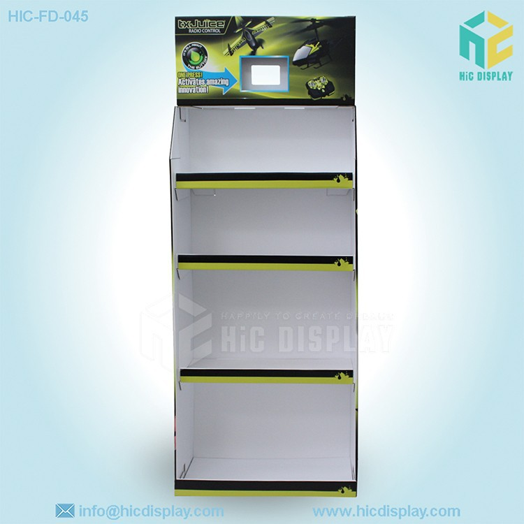cardboard material plastic toy display with four shelves,toy display stand