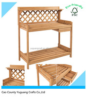 New Design Wholesale Natural Home Planting Solid Wood Construction Poting Bench Outdoor Garden Work Bench Station With Drawer Wo