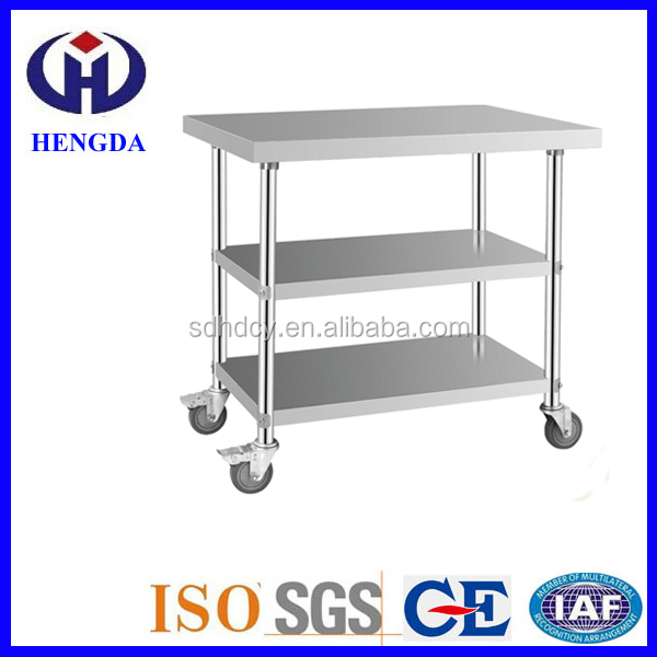Hot sale resterant kitchen stainless steel work table with wheels