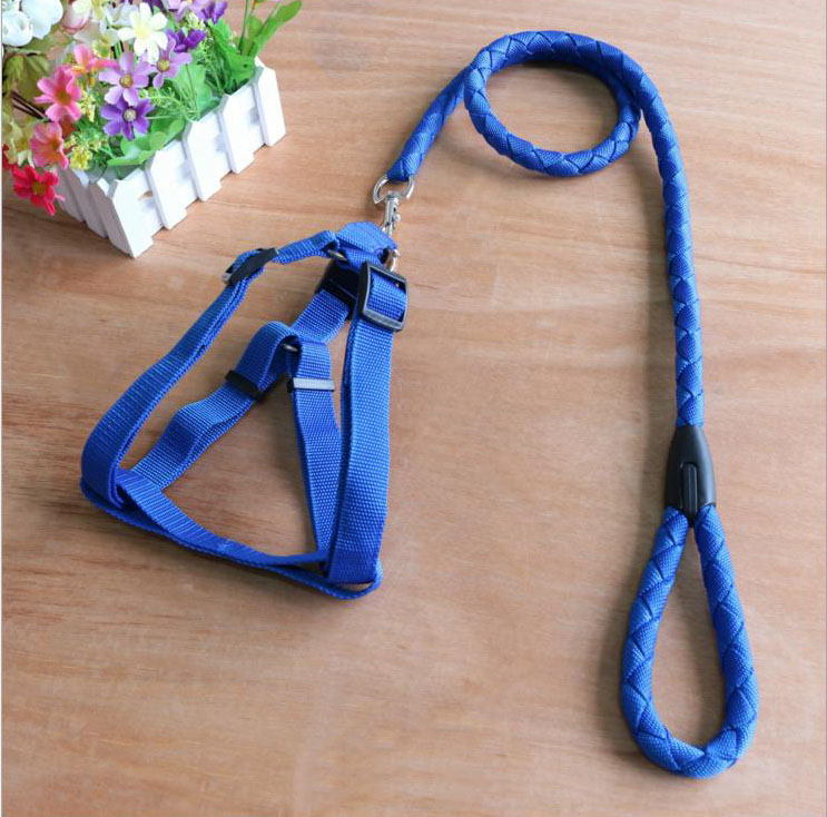 Nylon Dog Harness Lead Set with Weave Round Rope Leashes