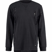 Wholesale High Quality Black Distressed Jumper Sweatshirts for Male
