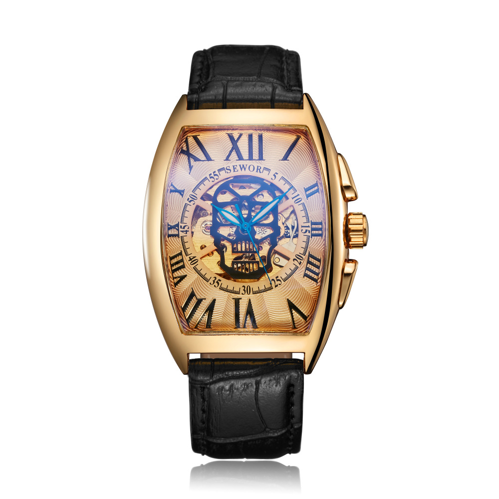 SEWOR Antique Tonneau Leather Automatic Mechanical Skull Watch Luxury Gold Skeleton Watch Clock for <strong>Men</strong>