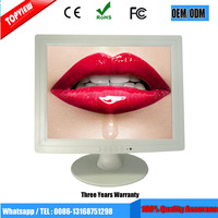 Factory offer 15 inches high brightness lcd white monitor with CE FCC ROHS