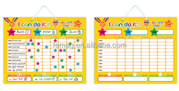 E1002 learning educational toys I can do it reward chart magnetic reward chart