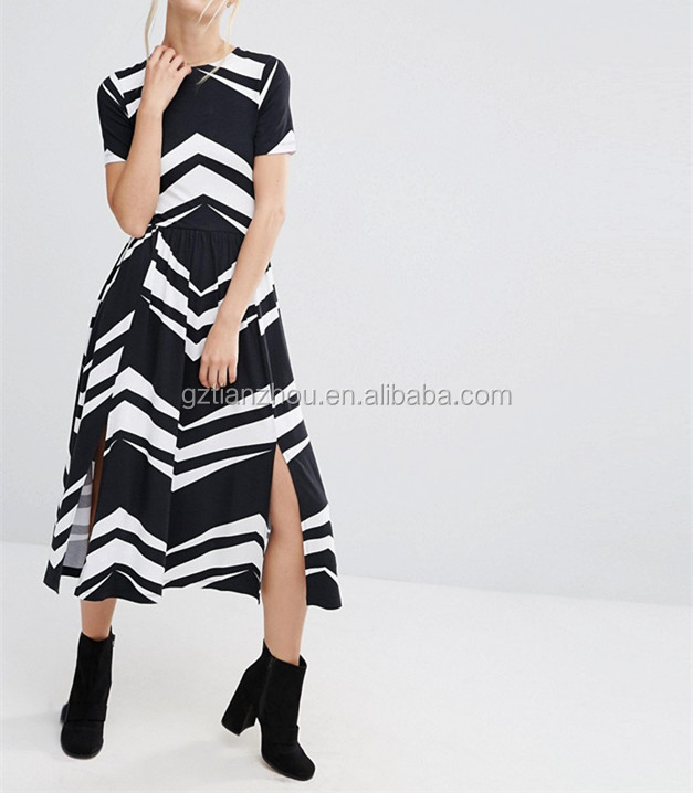 Guangzhou Wholesale High Neck Stretch Waist Dress Sexy Two Front Splits Women Midi Evening Dresses