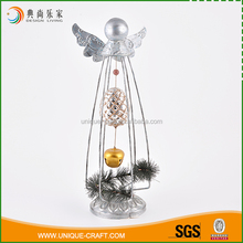 Super quality brands silver bell inside wire metal christmas angel