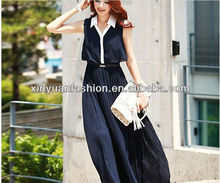 2014 mature elegant ladies fashion new design casual summer chiffon pleated for women dress
