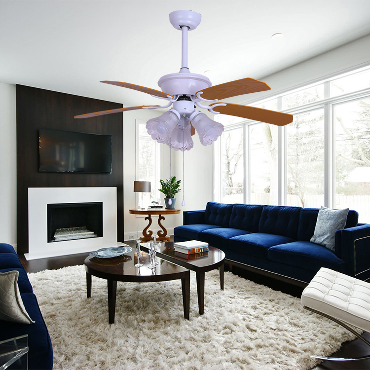 High quality multi-function 42'' 60W two colors blades electric ceiling fan with light