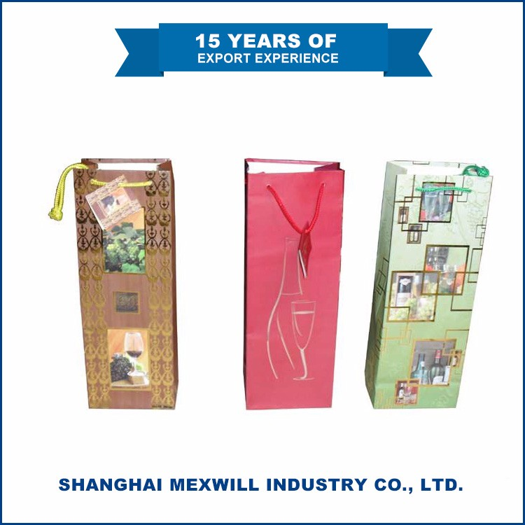 Hot Selling Quality-assured gift wine bottle handle paper carry bag