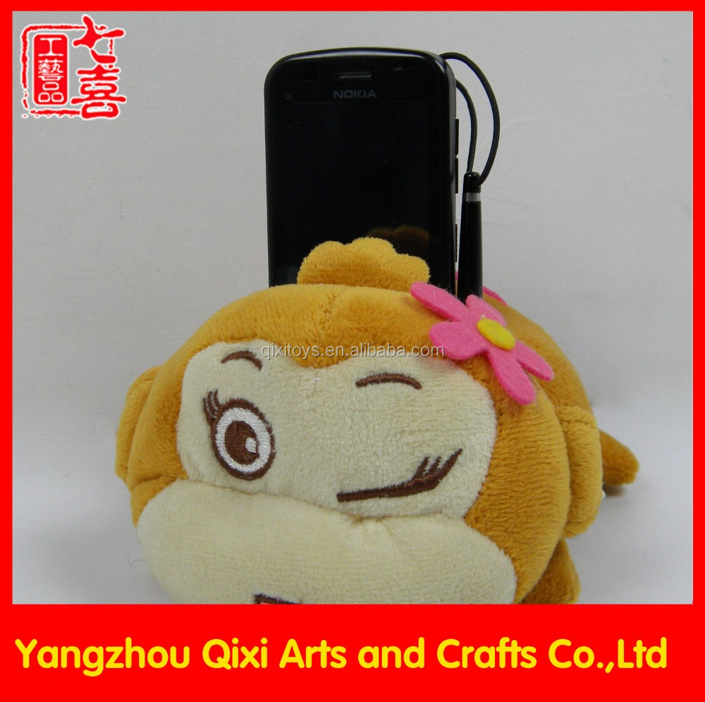 Funny mobile phone holder plush toy monkey phone holder cute stuffed animal cell phone holder
