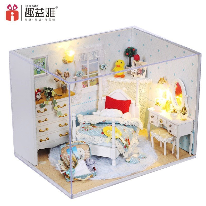 DIY Dollhouse Tailor Shop 3D Doll House Furniture Kit Light Children Xmas Gift