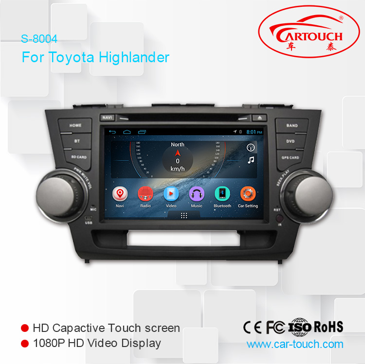 Car dvd player In dash Car Stereo GPS Navigation DVD Headunit For toyota highlander
