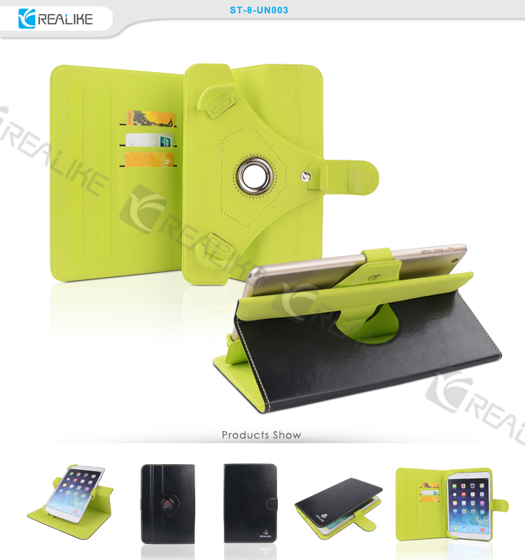 360 degree rotating wallet style tablet case,7 inch tablet case for ipad mini