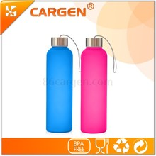 Food grade colorful frosted eco glass drink bottle