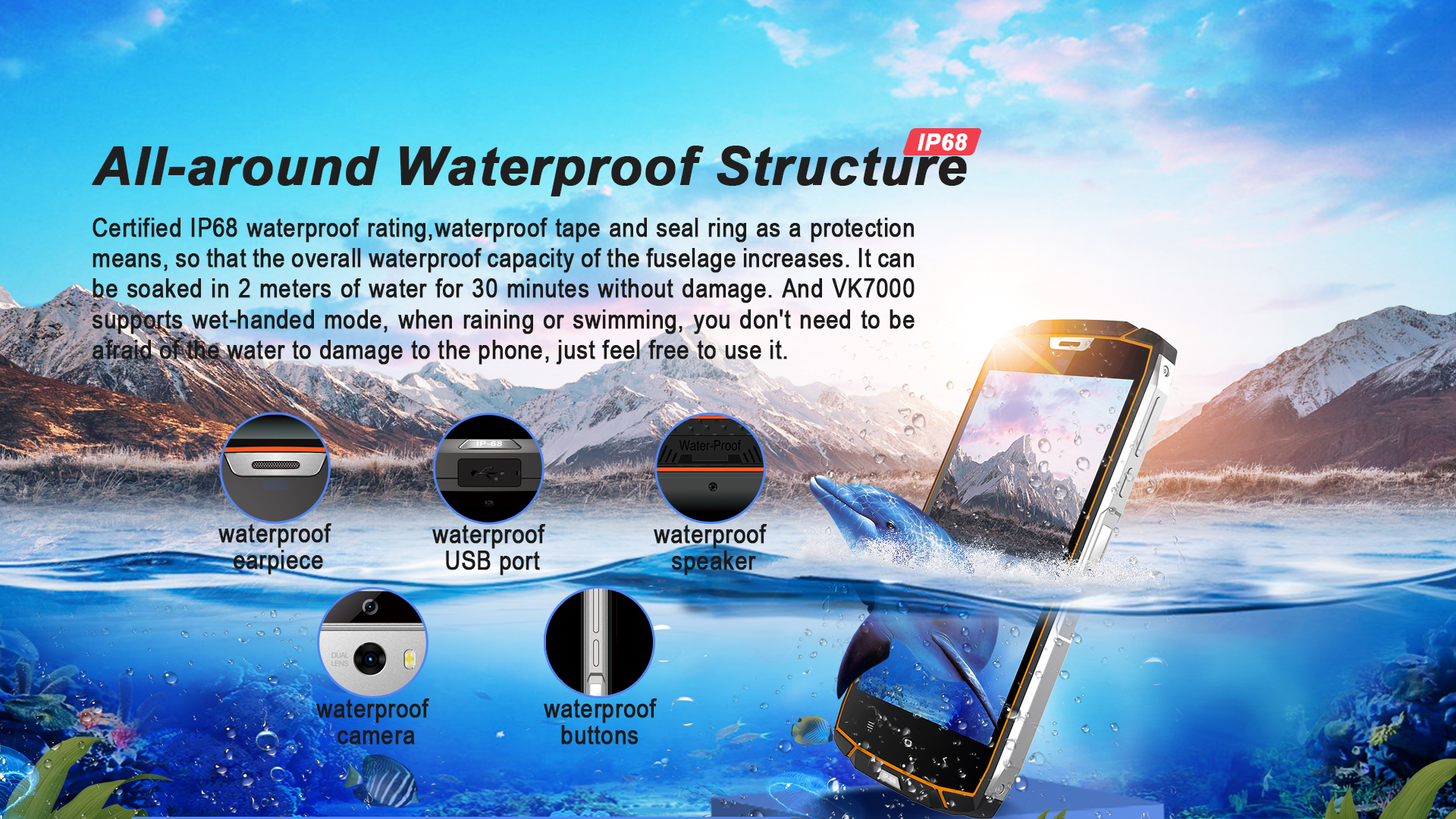 Free Shipping Alibaba Online Shopping IP68 Waterproof Mobile Phone 5.2inch MTK6750T 4+64GB Rugged Phone Support Google