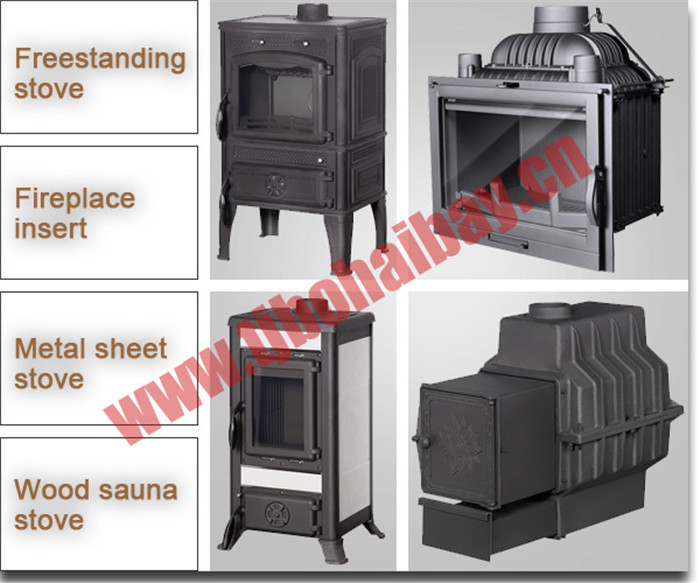 BHB Matte black paint cast iron wood burning stove