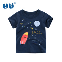 Zhongshan factory wholesale kids boys England style summer shirts with spaceship print