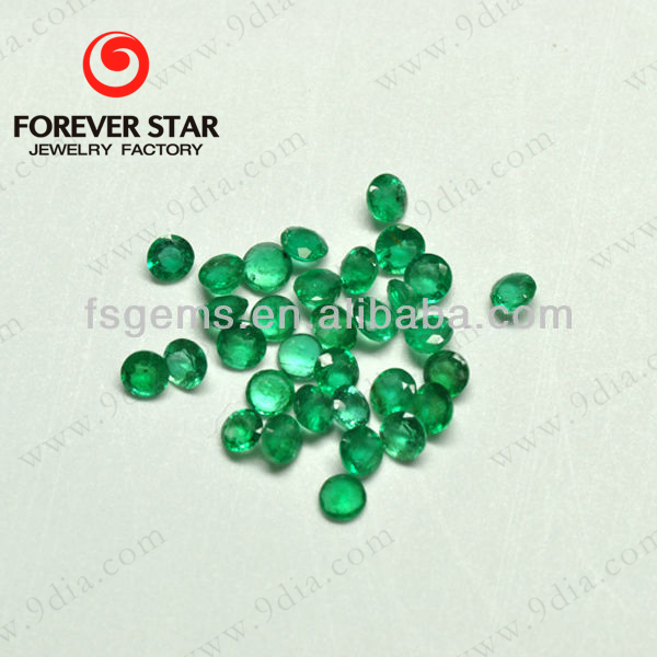 2GN03002A Round Natural Cut 2mm Natural Brazil Emerald Stone for Jewelry