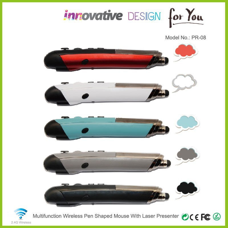Latest innovative products pen shaped ergonomic mouse with laser presenter computer peripheral