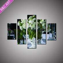 Modern Home Decorative Wall Print White Rose Picture Painting with Stretcher