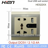 Table outlet with USB wall outlet with 2 USB ports 5V2.1A and 5V2.4A led night light and switch 5 pin socket