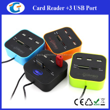 Hot Sale USB COMBO 3 port usb hub 2.0 HUB+Multi USB card reader All In One