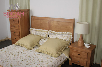 New design solid oak queen bed 5' sleigh bed bedroom furniture