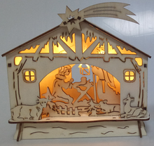 Christmas Nativity Scene Pre-lit Wooden Warm White LED Light Xmas Decoration NEW