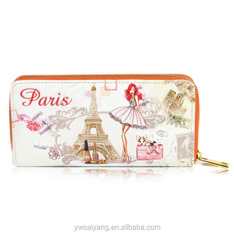 New paris version lady custom leather wallet