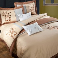 4-Pieces Beige Colored Floral Scrolls Embroidery Bedding Sets Queen King Size Cotton Duvet Cover Flat Sheet Pillow Cases