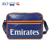 New design PU leather waterproof messenger bag for teenager logo