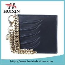 Smart style leather metal chain wallet with bag inside