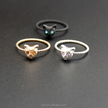 Fashion Daily Wear Cheap Price Animal Fox Shaped Alloy Ring with Zircon Stone