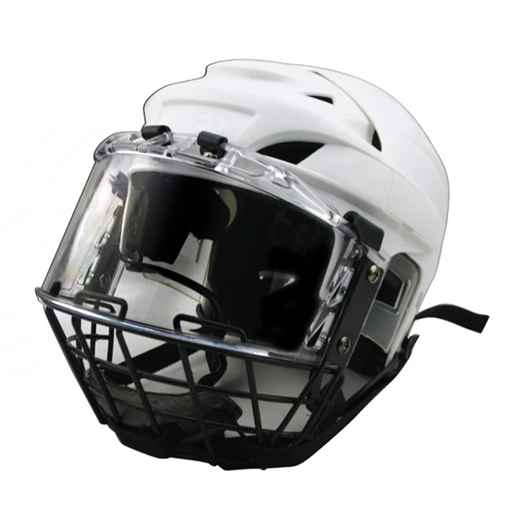 Hockey helmet with cage and visor