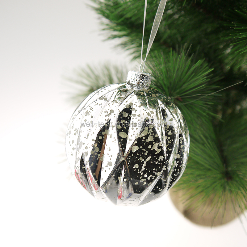 70mm Silver Plastic Hand-painted Ball Christmas ornament tree decorations