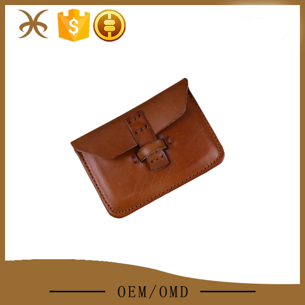 Brown veg-tanned leather fashion coin wallet